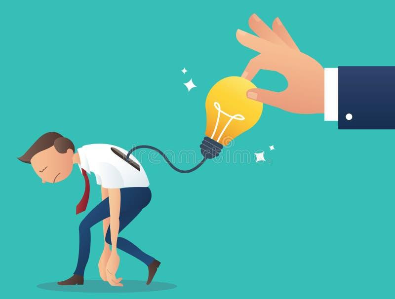 La grande mano che prova a prendere la lampadina, concetto di ruba il lavoro dal collega, illustrazione di vettore di plagio illustrazione vettoriale