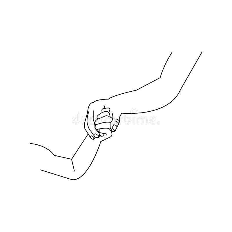 La grande mano tiene una piccola mano del bambino royalty illustrazione gratis
