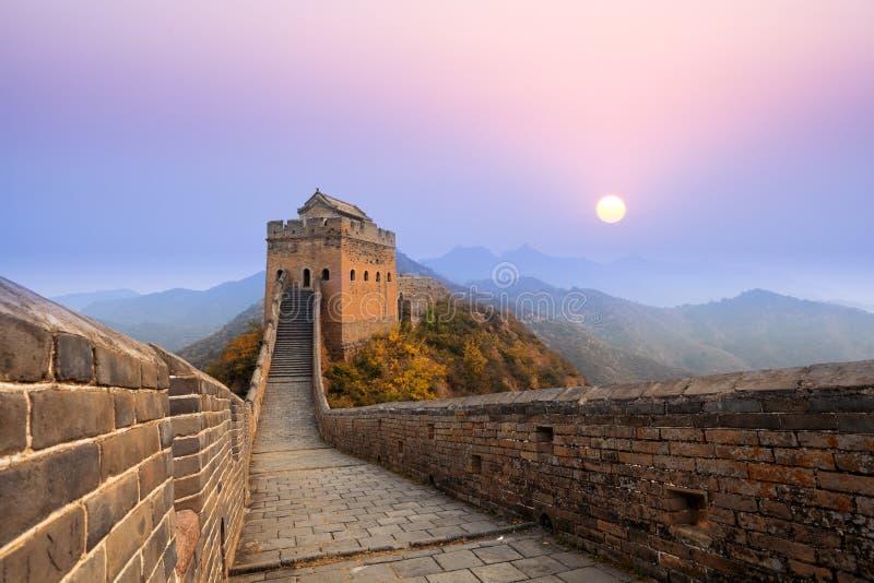 La Grande Muraille au lever de soleil photo stock