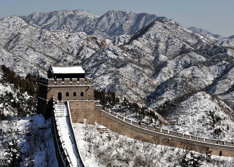 La Grande Muraille dans la neige de blanc d'hiver photographie stock libre de droits