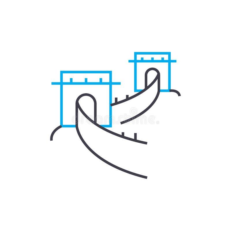 La Grande Muraille du concept linéaire d'icône de porcelaine La Grande Muraille de la ligne signe de vecteur, symbole, illustrati illustration de vecteur