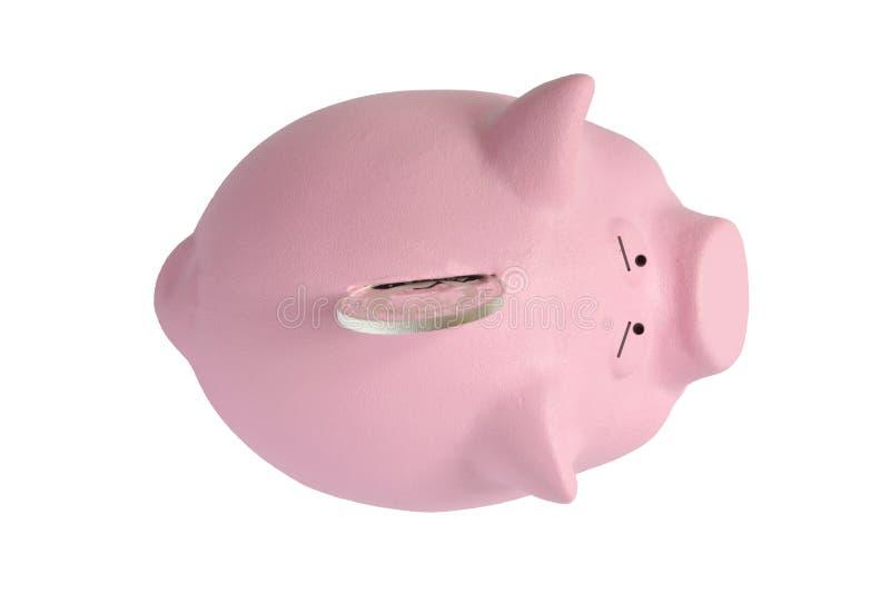 la grande pièce en argent n'entrera pas à une tirelire rose photo libre de droits