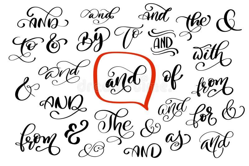 La grande raccolta della mano ha segnato i segni & e gli slogan con lettere isolata illustrazione vettoriale
