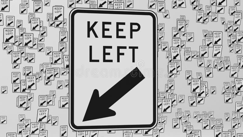 La grande rangée de maintenir la signalisation gauche flotter dans l'espace blanc illustration libre de droits