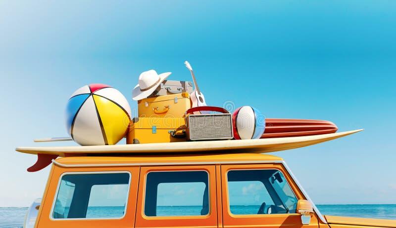 La grande retro automobile SUV con l'attrezzatura del bagaglio, dei bagagli e della spiaggia sul tetto, completamente imballato,  illustrazione vettoriale