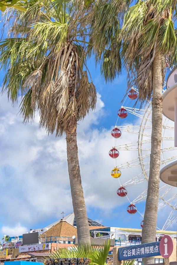 La grande roue de parc de carnaval de Mihama située dans le voisinage américain de village de Naha City a décoré des palmiers prè photos stock