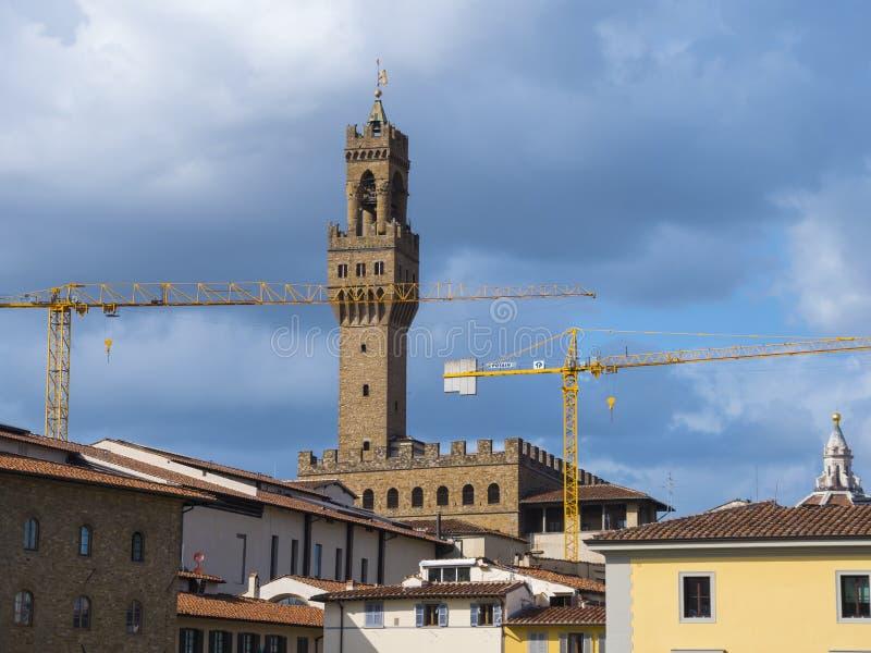 La grande tour sur le palais de Vecchio en Florence Palazzo Vecchio photos stock