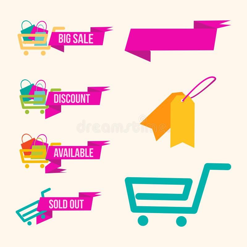 La grande vendita di gran cosa insacca l'icona variopinta del grafico di acquisto e l'insegna rosa con il negozio affidabile del  immagini stock libere da diritti