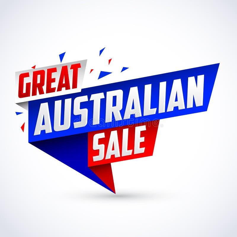 La grande vente australienne, dirigent la bannière promotionnelle colorée moderne illustration stock