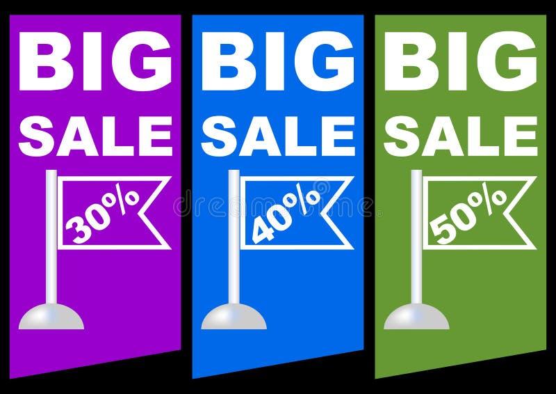 La grande vente, pour cent de remise, a coloré le label avec les drapeaux et le titre, violette, bleu, conception de vert illustration de vecteur
