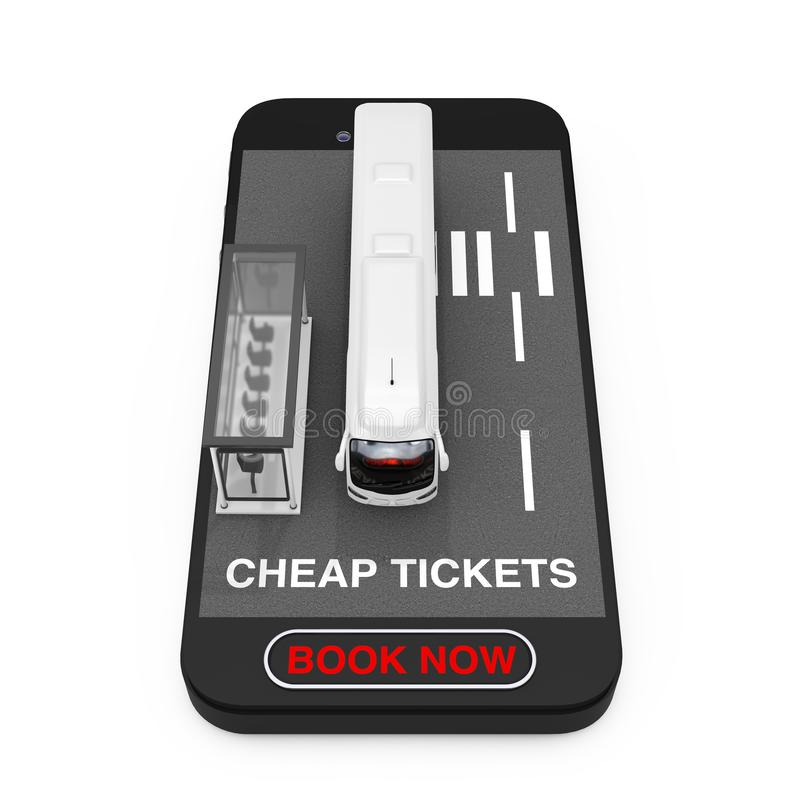 La grande vettura bianca Tour Bus con l'autostazione sopra il telefono cellulare con i biglietti economici ora firma e prenota il illustrazione vettoriale