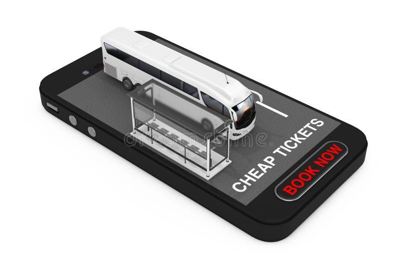 La grande vettura bianca Tour Bus con l'autostazione sopra il telefono cellulare con i biglietti economici ora firma e prenota il illustrazione di stock