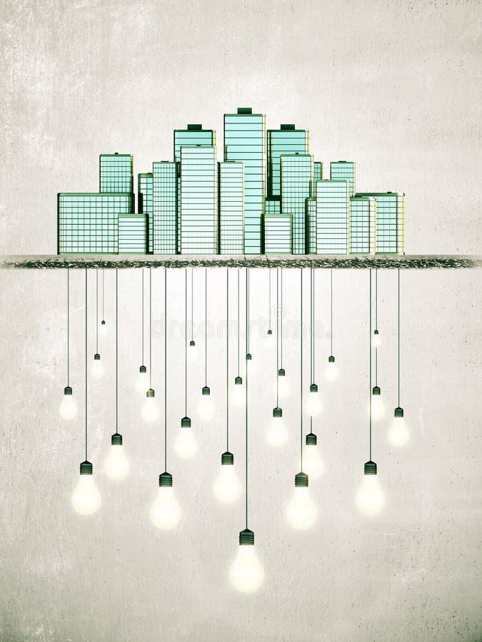 La grande ville crée le concept lumineux d'idées photographie stock libre de droits