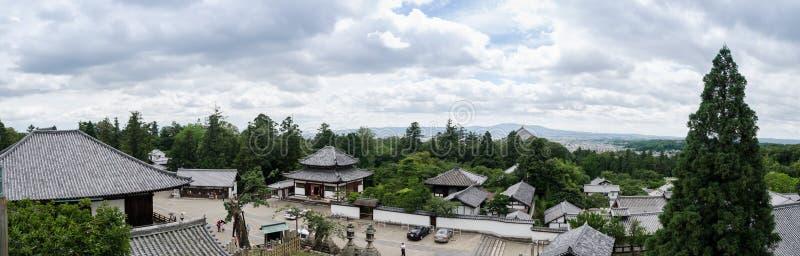 La grande vue panoramique de Nigatsu-font Hall à Nara japan photos libres de droits