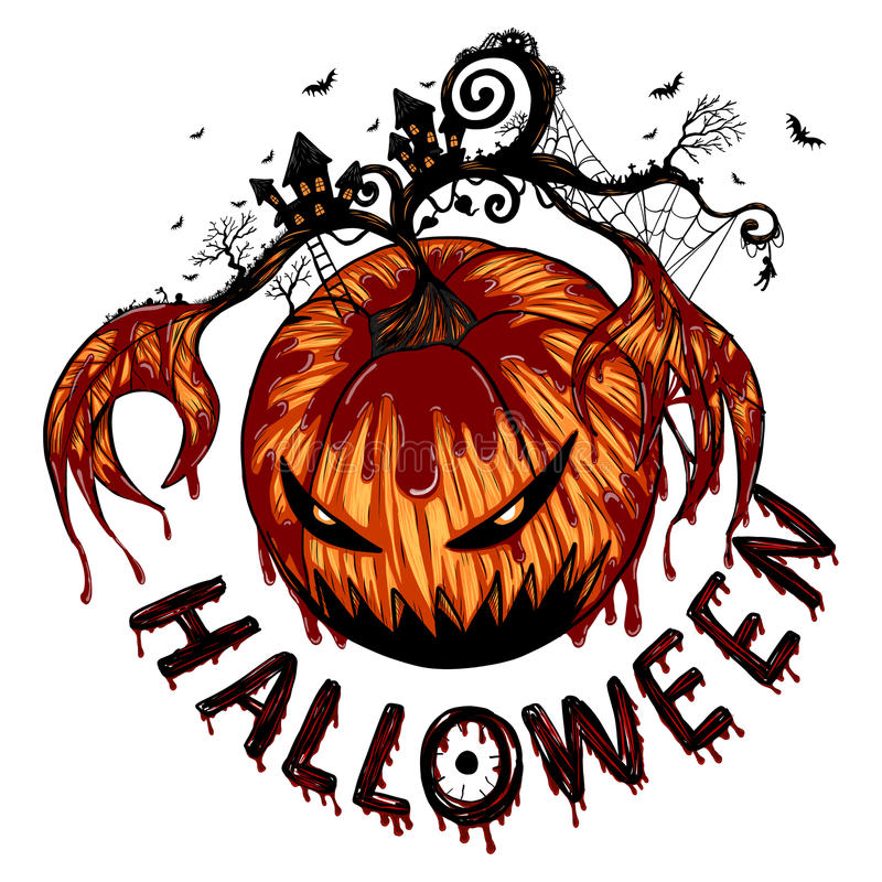 La grande zucca del fantasma sta scatenandosi in Halloween royalty illustrazione gratis