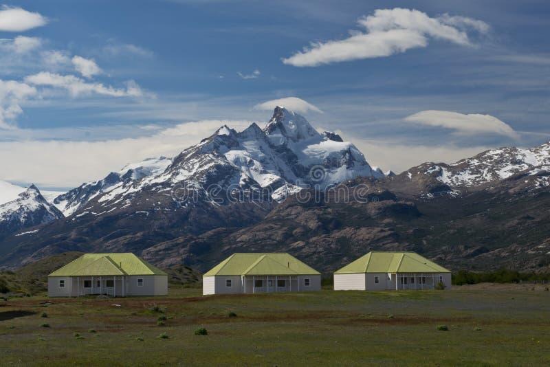 La granja de Estancia Cristina en parque nacional del Los Glaciares imagen de archivo