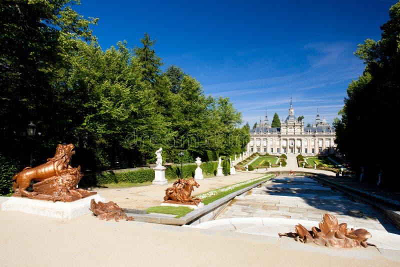 La Granja de San Ildefonso avec le jardin, province de Ségovie, Castil photo libre de droits