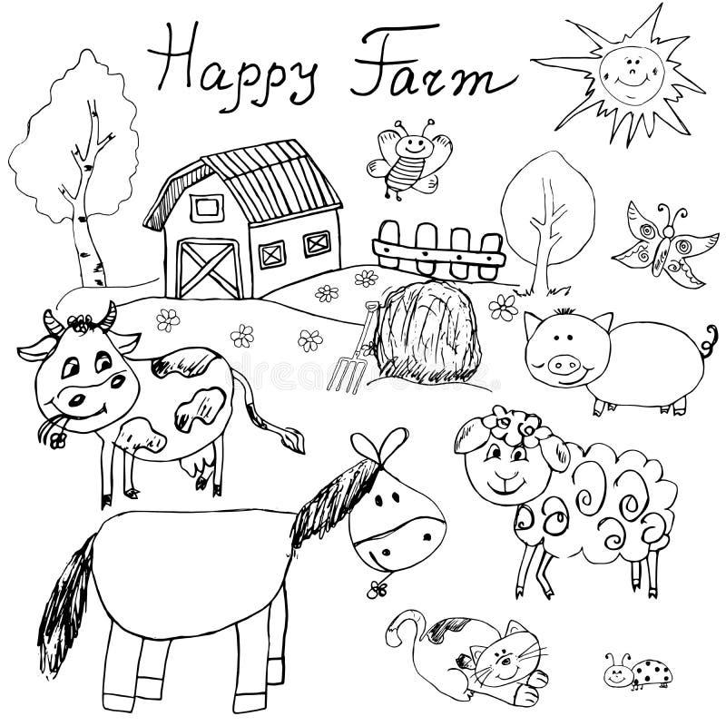 La granja feliz garabatea los iconos fijados Dé el bosquejo exhausto con el caballo, la vaca, el cerdo de las ovejas y el granero ilustración del vector