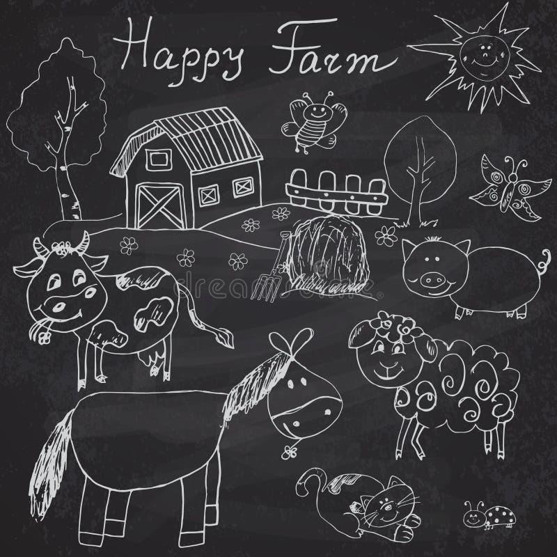 La granja feliz garabatea los iconos fijados Dé el bosquejo exhausto con el caballo, la vaca, el cerdo de las ovejas y el granero libre illustration