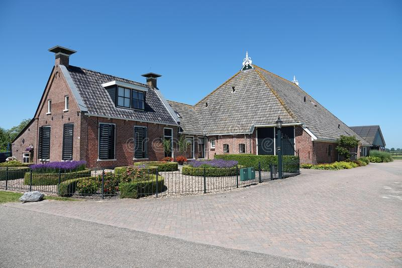 La granja principal del torso del cuello mecanografía en Jellum cerca de Leeuwarden en Frisia foto de archivo libre de regalías