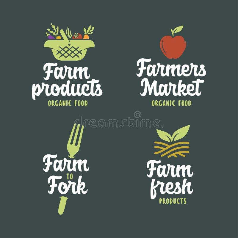 La granja relacionó los emblemas fijados Ejemplo del vintage del vector stock de ilustración