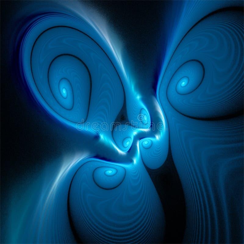 La grasa divertida loca del fractal del místico abstracto del arte tuerce en espiral azul stock de ilustración