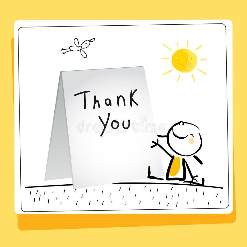 La gratitud de los niños le agradece cardar ilustración del vector
