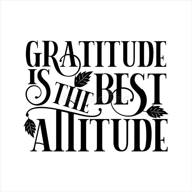 La gratitud es la mejor actitud - agradecimientos diciendo texto, con hojas de otoño libre illustration