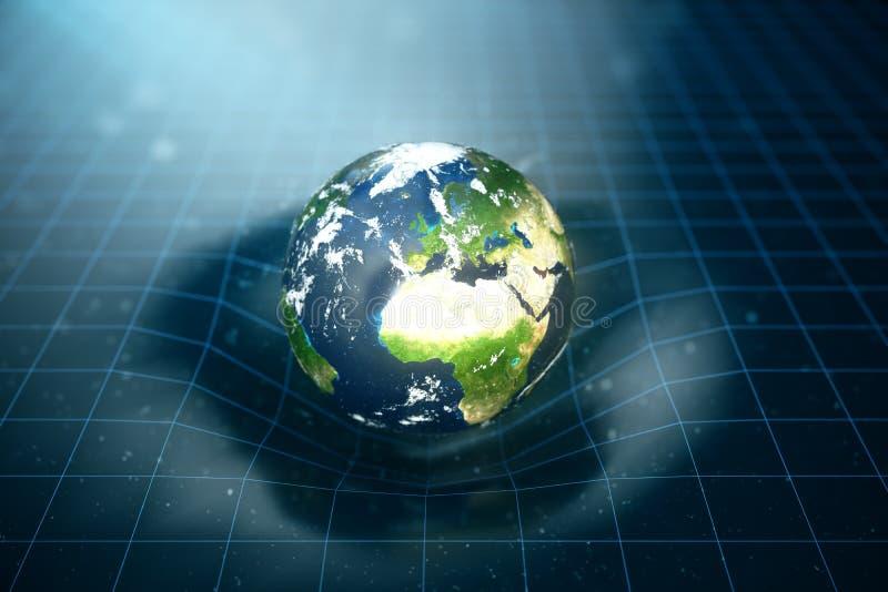 la gravità del ` s della terra dell'illustrazione 3D piega lo spazio intorno  con effetto del bokeh La gravità di concetto deform royalty illustrazione gratis