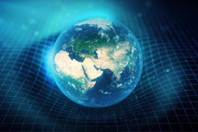 la gravità del ` s della terra dell'illustrazione 3D piega lo spazio intorno  con effetto del bokeh La gravità di concetto deform illustrazione di stock