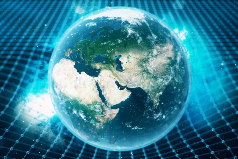 la gravità del ` s della terra dell'illustrazione 3D piega lo spazio intorno  con effetto del bokeh La gravità di concetto deform illustrazione vettoriale