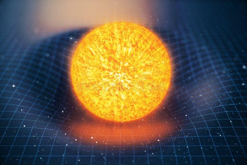 la gravità di Sun dell'illustrazione 3D piega lo spazio intorno  con effetto del bokeh La gravità di concetto deforma la griglia  illustrazione vettoriale