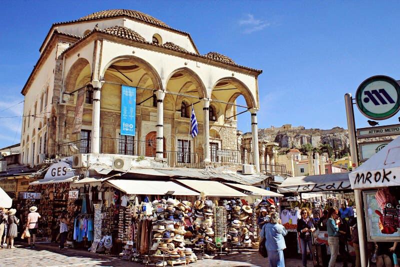 La Grecia, Atene, il 29 maggio 2019 - vecchia moschea al quadrato di Monastiraki fotografia stock