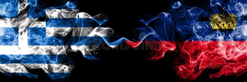 La Grecia, greca, Liechtenstein, bandiere fumose variopinte spesse della concorrenza di vibrazione Giochi europei di qualificazio illustrazione di stock