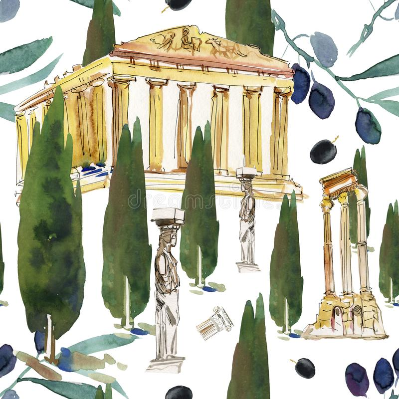 La Grecia Il backg disegnato a mano dell'acquerello ha stilizzato le piccole case bianche con i tetti a cupola blu e piccole fine illustrazione di stock