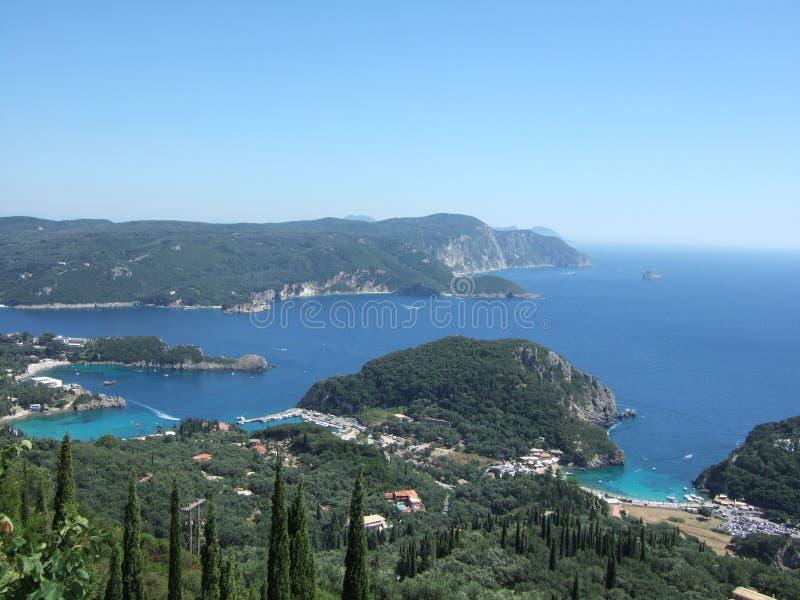 La Grecia, isola di Korfu, Paleokastritsa fotografia stock