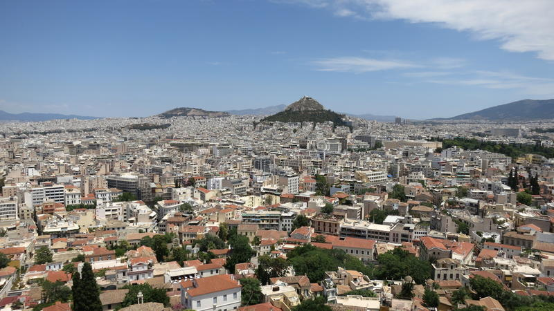La Grecia Panoram di Atene fotografia stock libera da diritti
