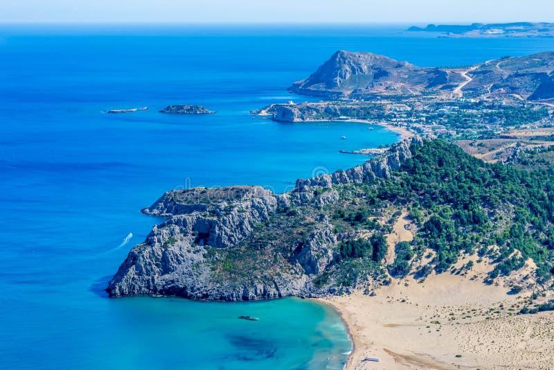 La Grecia, Rodi, spiaggia di Tsambika immagini stock