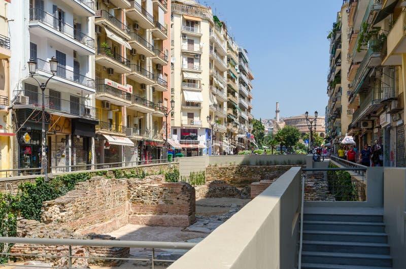 La Grecia, Salonicco Gli scavi del palazzo del romano fotografia stock libera da diritti