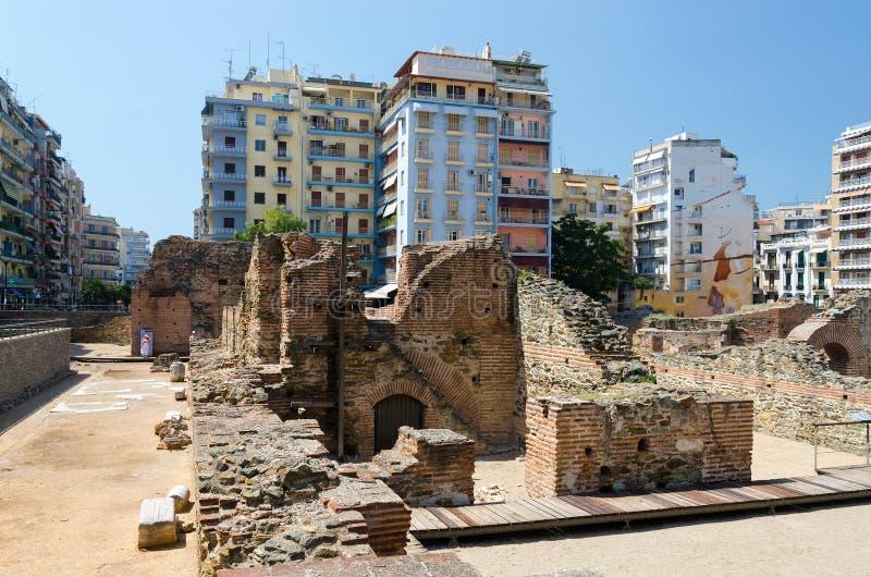 La Grecia, Salonicco Le rovine del palazzo di Roman Emper immagine stock