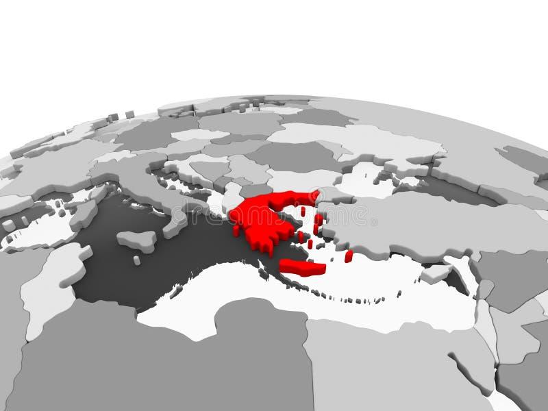 La Grecia sul globo grigio illustrazione di stock
