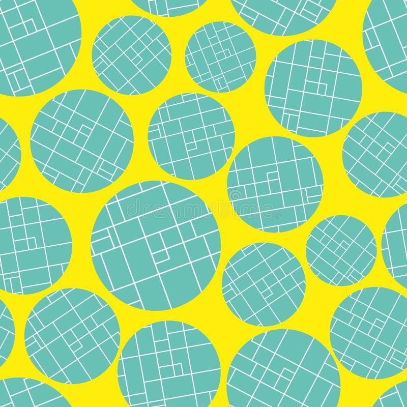 La griglia blu luminosa contemporanea ha strutturato i cerchi su fondo giallo vibrante Reticolo astratto senza giunte di vettore  illustrazione di stock