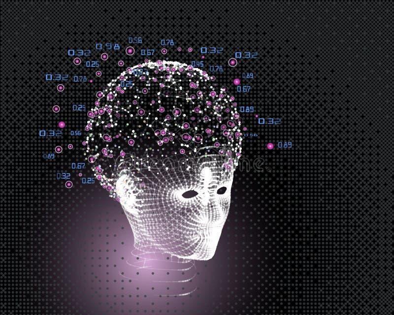 La griglia capa della donna e grande concetto di dati Fondo astratto di intelligenza artificiale Progettazione estetica di appren illustrazione vettoriale