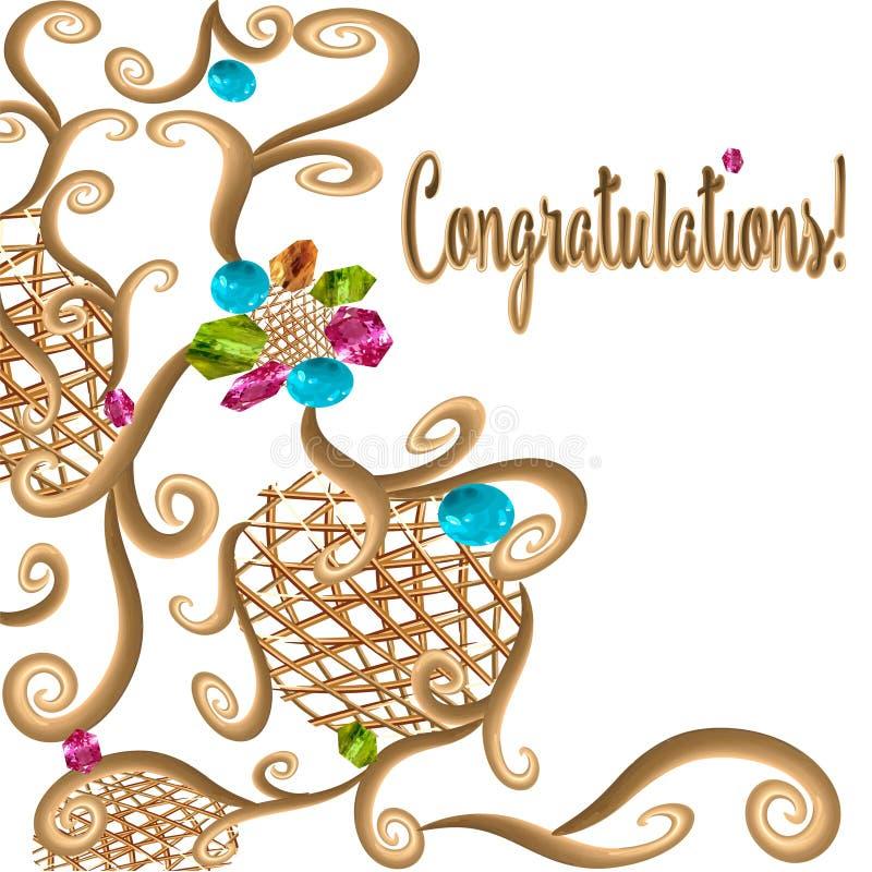 La griglia dell'ornamento dell'oro di congratulazioni ha forgiato il jeweledand un le paia delle fedi nuziali per le nozze royalty illustrazione gratis