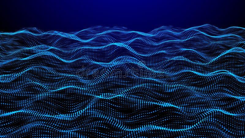 La griglia punteggia il fondo astratto del paesaggio cyberspace illustrazione di vettore di tecnologia 3d illustrazione di stock