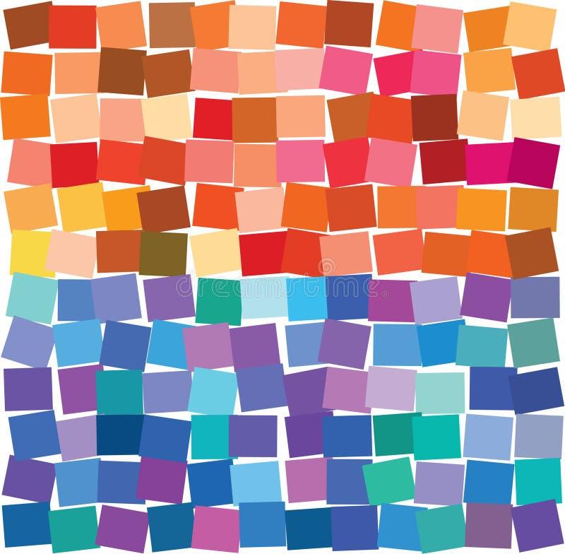 La grille colorée de places, des rectangles légèrement de recouvrement a composé des tons chauds et froids illustration libre de droits