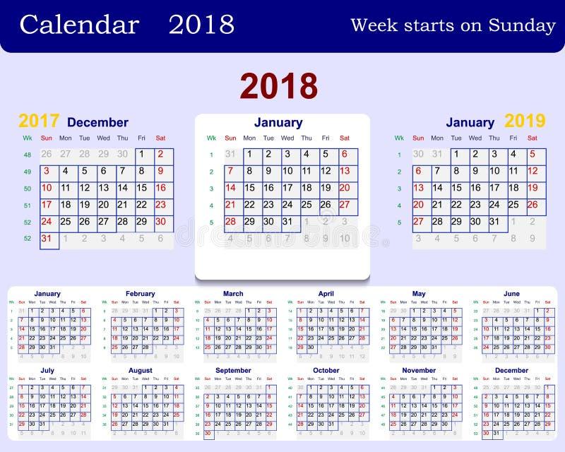 La grille de calendrier pour la semaine 2018 commence à partir du dimanche et à partir de décembre de l'année précédente 2017 et  illustration libre de droits