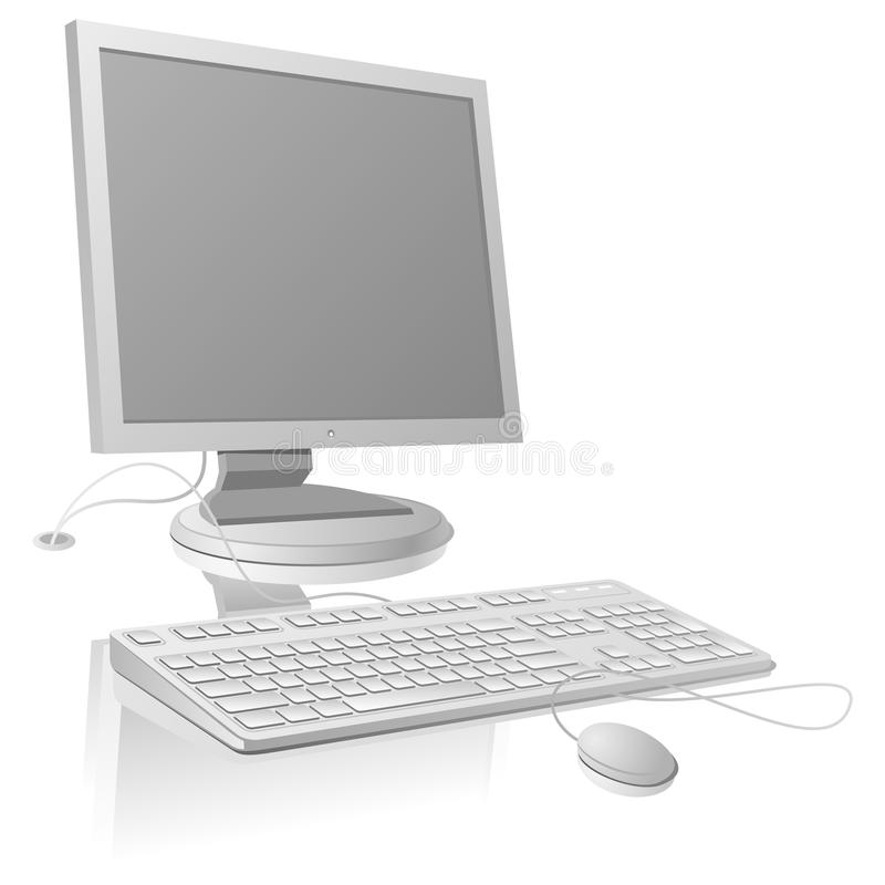 La grille de moniteur et de clavier d'affichage à cristaux liquides illustration stock