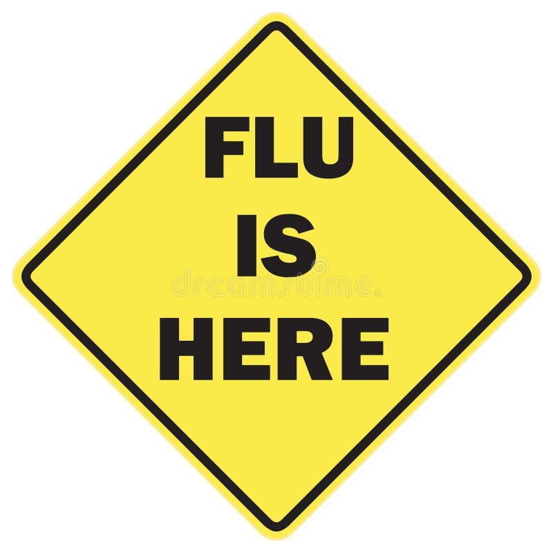 La gripe está aquí señal de peligro foto de archivo libre de regalías