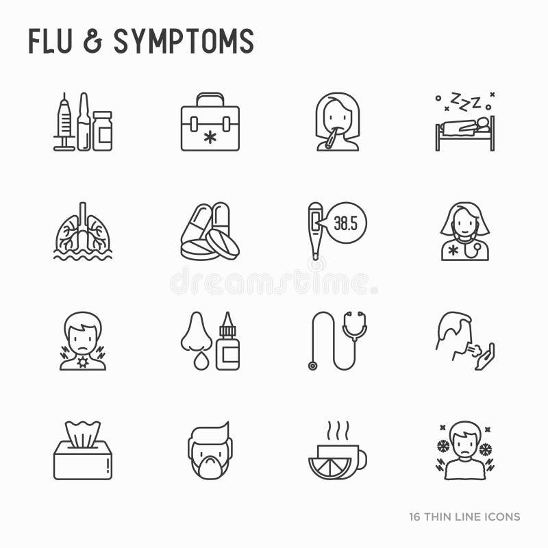 La gripe y los síntomas enrarecen la línea iconos fijados stock de ilustración